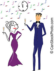 new years toast - woman in gown and man in tuxedo toasting...