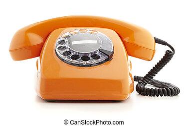 vintage telephone - orange vintage telephone isolated on...