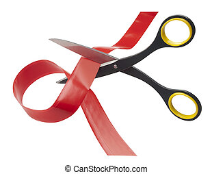 tijeras, corte, por, rojo, cinta