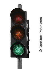 green traffic light - green traffic control signal isolated...