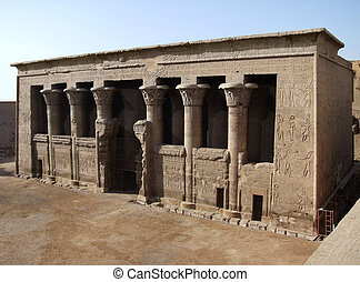 ancient Chnum temple of Esna - sunny scenery includeing the...