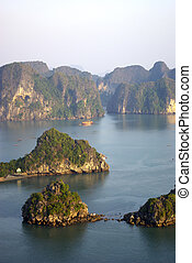 High view of Halong bay - An high view of Halong bay at the...