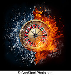 Casino Roulette in Water and Fire Isolated on Black...