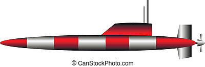 Submarine on white background - vector illustration