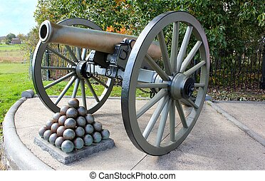 cannon at gettysburg with stacked cannon balls