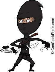 Fierce Ninja Throws Shuriken - Cartoon ninja over white...