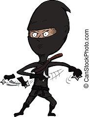 Fierce Ninja Throws Shuriken - Cartoon ninja over white...