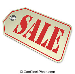 A price tag with the word Sale, illustrating a reduced...