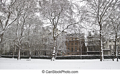 Winter  in London. Unusual snow in parks
