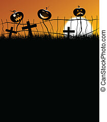 scary halloween pumpkins - 2 scary pumpkins sitting on a...