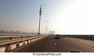 car movement long bridge