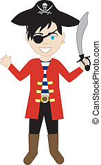 Pirate Boy Costume - Vector of a Pirate boy in a costume
