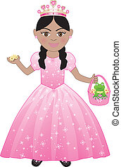 Pink Princess Costume - Vector of a cute girl in a Pink...