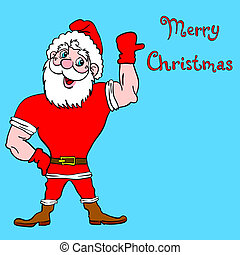 Muscular Santa Claus with a raised hand gesture.