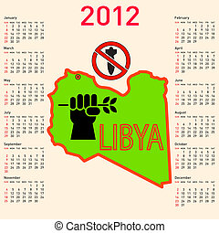 Stylish calendar in Libya. for 2012.