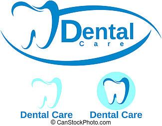 セット, 歯医者の, logotype