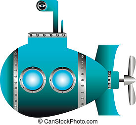 Blue submarine on white background - vector illustration.