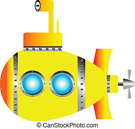 Yellow submarine on white background - vector illustration