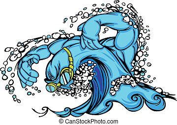 Swimming & Diving Wave Vector Image - Swimming Water Wave...