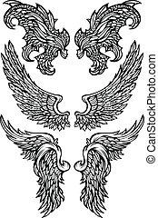anjo, asas, &, Demônio, asas, vetorial