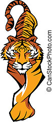 Tiger Mascot Body Prowling Vector - Prowling Tiger Body...