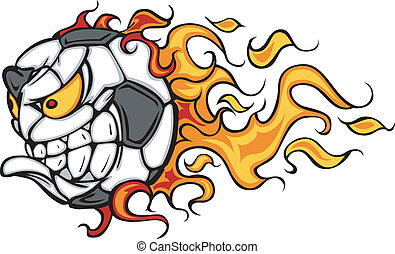 Soccer Ball Flaming Face Vector - Flaming Soccer Ball Face...