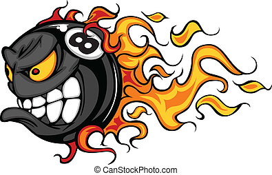 Billiards Eight Ball Flaming Face - Flaming Eight Ball Face...