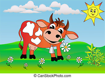 merry cow with daisy wheel on meadow.
