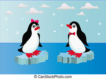 penguins on block of ice with bow - illustration penguins on...