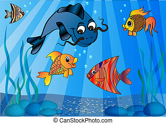 the fish in undersea world - Illustration of the fish in...