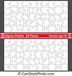 Puzzle with 50 pieces - Vector jigsaw puzzle with 50 pieces