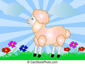 sheep on background of the nature and flower - illustration...