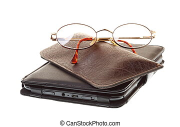 glasses eBook reader isolated on white - glasses eBook...