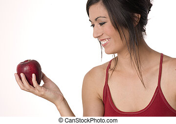 Beautiful Brunette with Apple