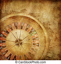 Casino Roulette on the Old Paper Background