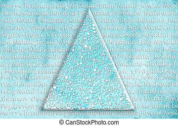Christmas tree card in many languages - abstract Christmas...