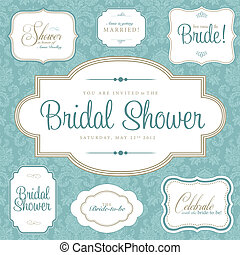 Vector Bridal Shower Frame Set. Easy to edit. Perfect for...