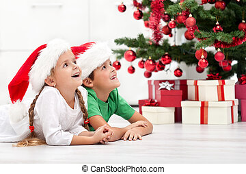 Happy kids in front of christmas tree - Happy kids laying on...