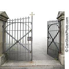 abierto, hierro forjado, puerta