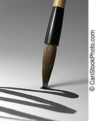 chinese brush tip detail - detail of a chinese brush while...
