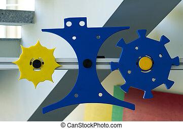 Plastic machine parts. Vertical image