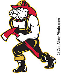 bulldog dog fireman with axe walking cartoon - illustration...