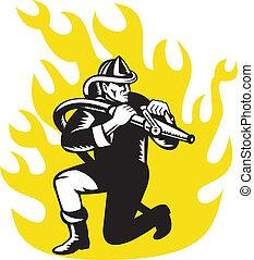 bombeiro, bombeiro, ajoelhe, objetivo, fogo, mangueira