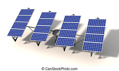 One articulated solar panel module in morning - One...
