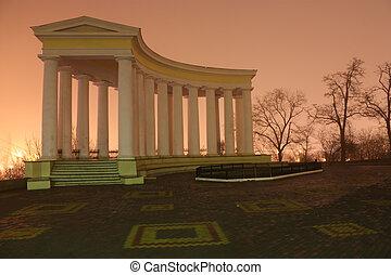 The Odessa architecture in fog