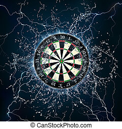 Darts Board in Fire and Water Isolated on Black Background