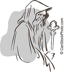 Wizard - Abstract outline vector illustration of a wizard