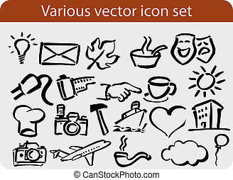 Varous icons pack - Various hand drawn vector icon and...