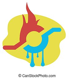 water and fire - vector business emblem with fire and water...