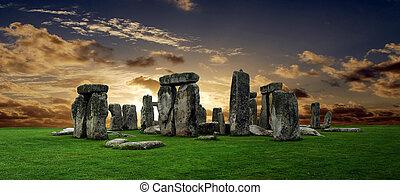 Stonehenge large panorama at sunset, United Kingdom (without...